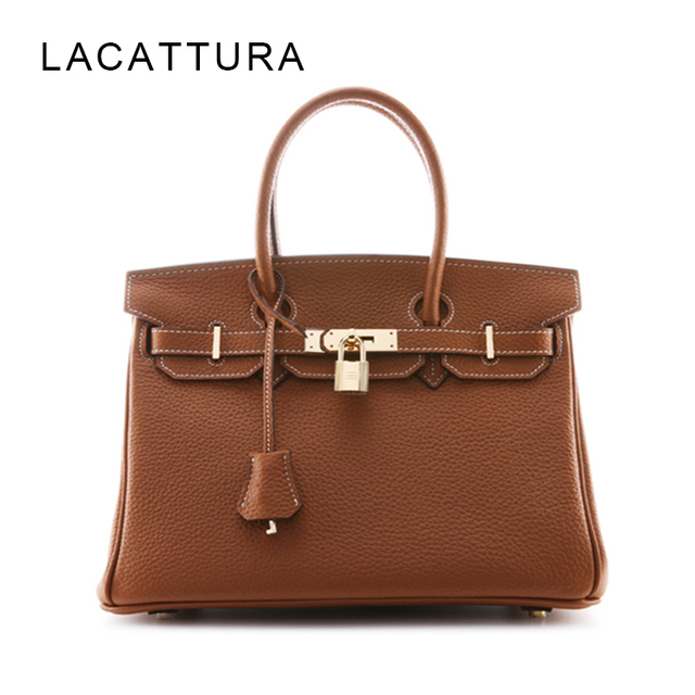 LACATTURA Classic It Bag Brand Design Women Handbags High Quality Genuine Leech Cowskin Saffiano Shoulder Bag All-match Lady Bag