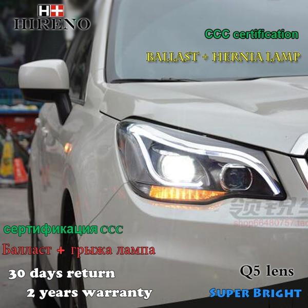 Hireno Headlamp for 2013-2015 Subaru Forester Headlight Assembly LED DRL Angel Lens Double Beam HID Xenon 2pcs