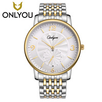 ONLYOU 2017 Women Watches Gold Silver Male Wristwatch Summer Luxury Fashion Men Couples Lovers Stainless Steel