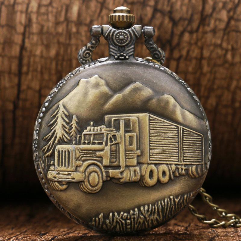Vintage Bronze Train Front Locomotive Quartz Watch 3D Car Truck Pattern Pocket Watch Men Women Necklace Pendant Gifts FOB Chain