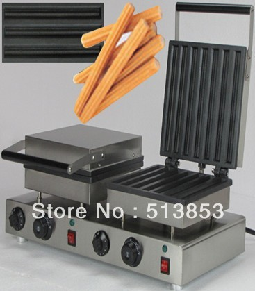 Free Shipping ,Doulbe-Head 220v Electric Churros Maker Machine economic and elegance waffle maker machine baker doulbe head electric churros with bar shaped and popsicle