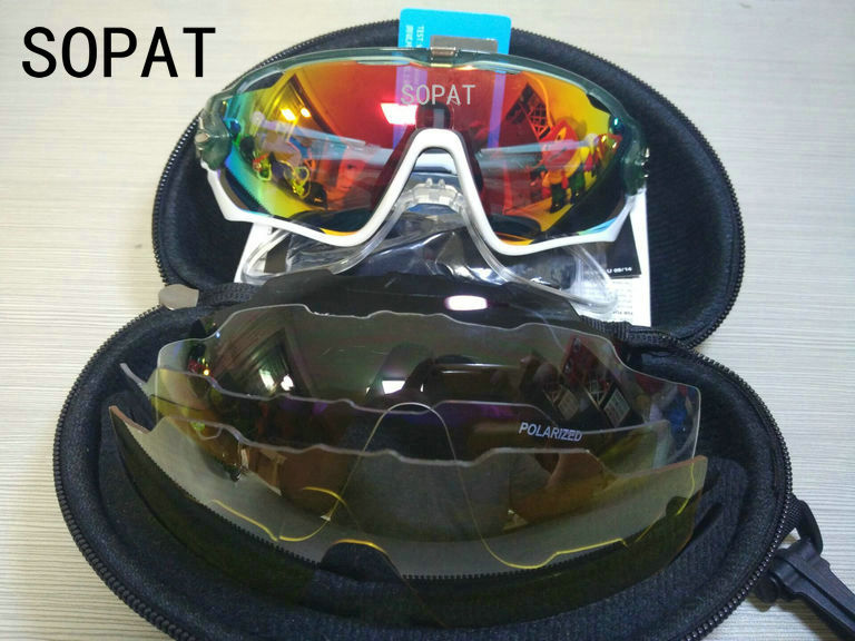 HTB1mvhgQXXXXXXlXpXXq6xXFXXXb - 2018 4 Lens Mountain Velo Goggles Polarized Jaw Breaker Sunglasses Men Women MTB sopat Eyewear JBR Sun Glasses with Myopia Frame