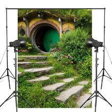 150x220cm New Zealand Parks Photography Background Shrubs Bench Backdrop Matamata Hobbiton Park Nature Theme Studio