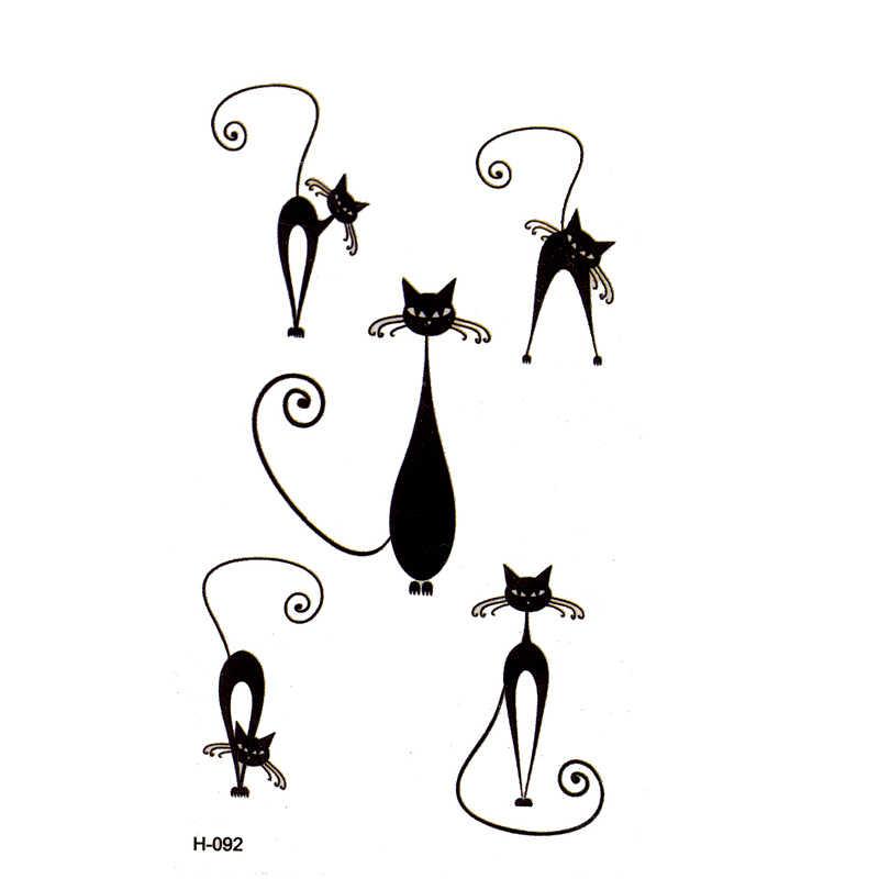 Новый Дизайн Модный черный Кот временные татуировки наклейки животных