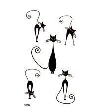 New Design Fashion Black Cat  Temporary Tattoo Stickers Animal Temporary Tattoos Body Art Waterproof Henna Tattoo Pattern