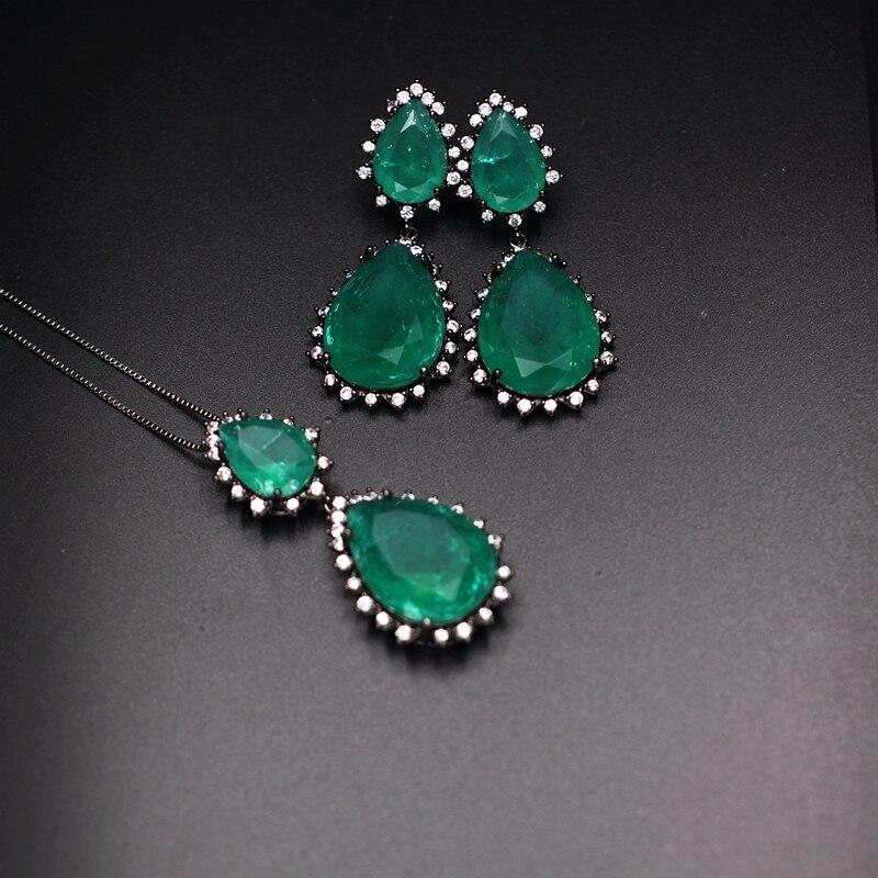 Emerald Dragonfly 925 Sterling Argent Collier Avec Pendentif Dangle Femmes Chaîne
