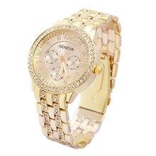 Top Genève Marque de mode en acier plein montre femmes hommes Beauté Cristal robe quartz montre-bracelet Relogios Feminino ge001