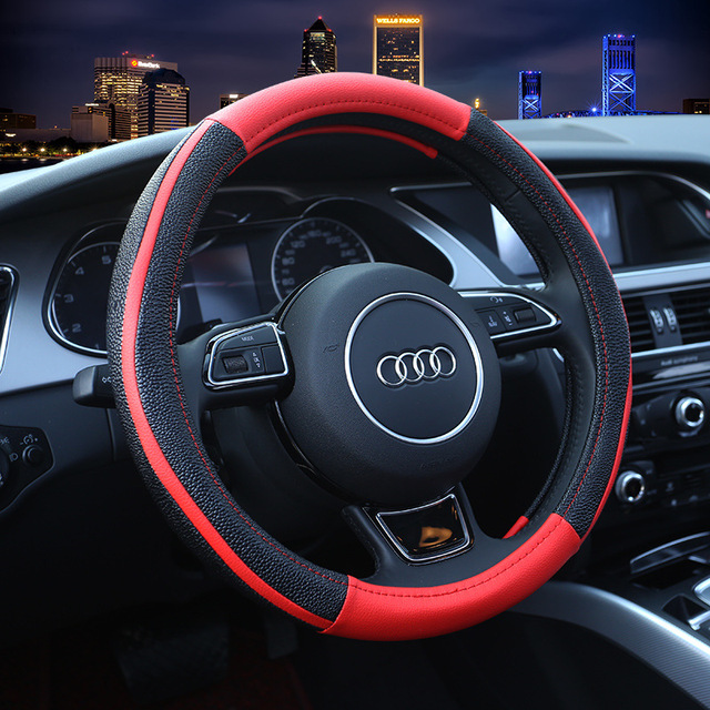Two Tone Car Steering Wheel Cover Sport Leather Steering Covers Four ...