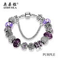 2016 Fashion Jewelry Butterfly Charm Bracelets & Bangles For Women Antique Silver Crystal Beads Bracelet Pulseira Gfit SPB15287