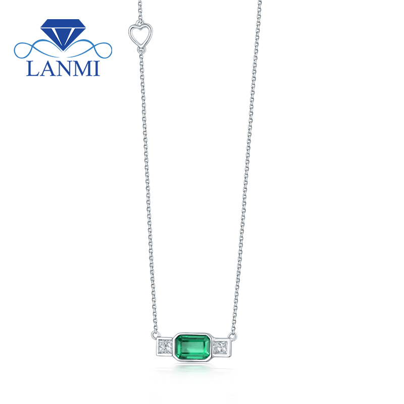 Fantastic Solid 18Kt White Gold Natural Emerald Shinning Diamond Wedding Pendant Necklace...