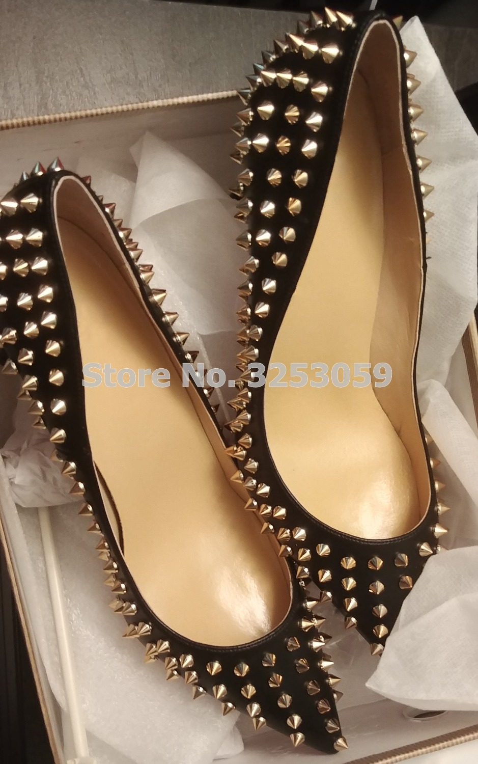 цена на ALMUDENA Top Brand Women Sexy Black Suede Gold Rivets Pointed Toe Pumps Shallow Stiletto Heel Golden Spikes Banquet Dress Shoes