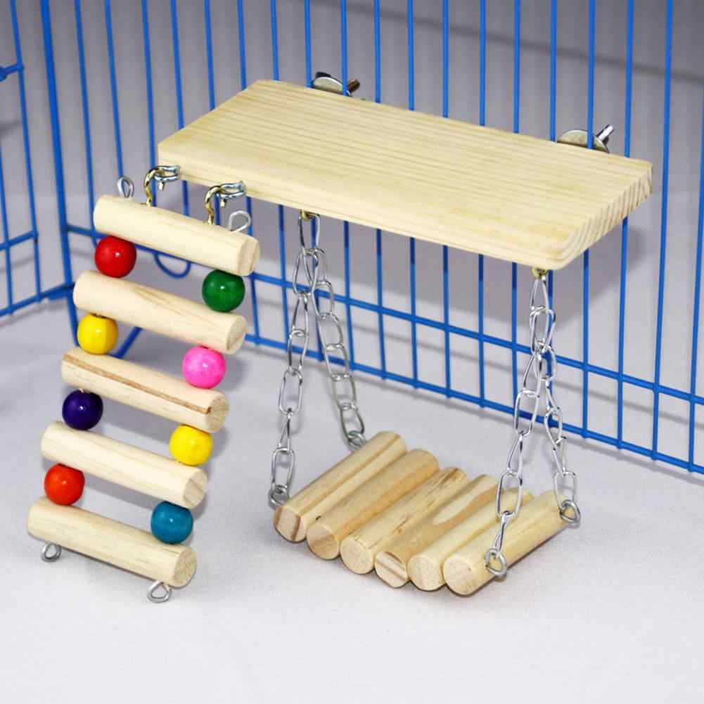 40# 3Pcs/Set Wooden Springboard Ladder Swing Stand Toy Parrots Birds Cage Accessory Good Tool For The Parrot