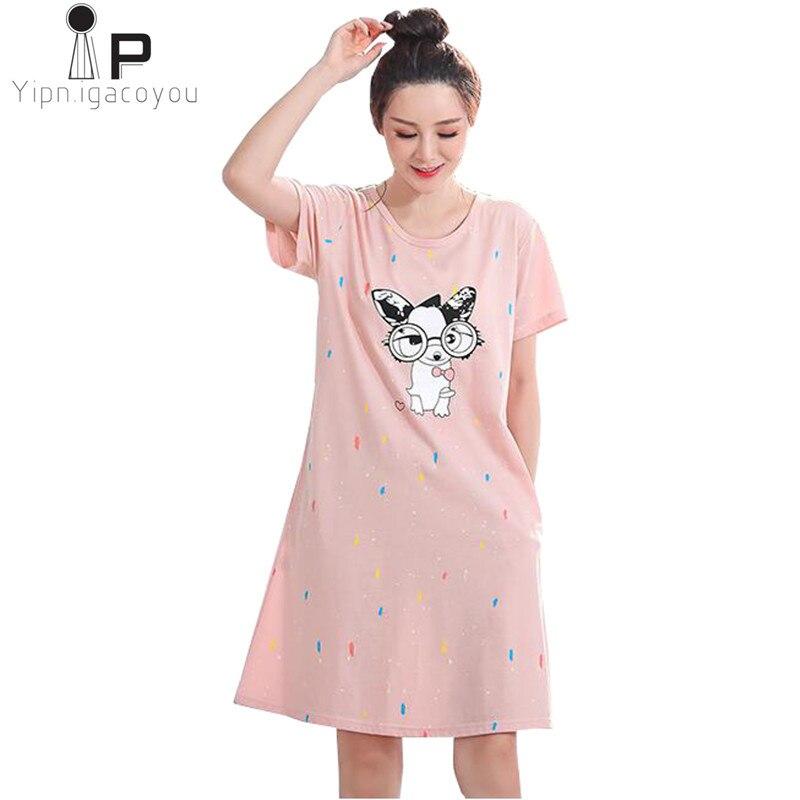 65879f9cc Vestido de Noite Das Mulheres Sleepwear Plus Size 5XL Senhoras Nightwear  dos desenhos animados do kawaii Mulheres Vestido Nightie Homewear Camisola  Nova ...