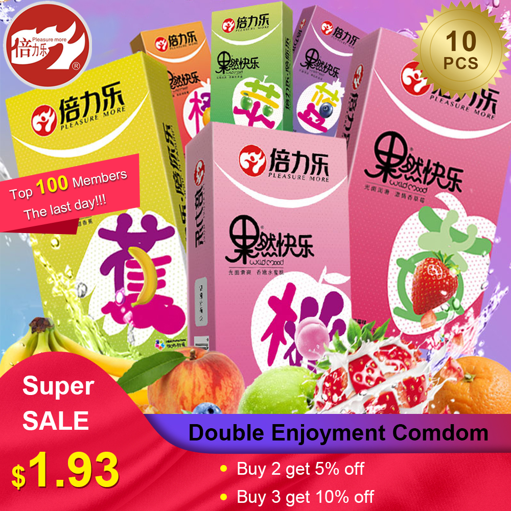 Beilile 10PCs Fruit Flavor Condoms For Men Strawberry Blueberry Taste Penis Sleeves Sex Set Ultra Thin Condom For Adults