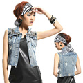 2016 New Denim Vest Waistcoat Casual Turn-down Collar Rivet Sleeveless Short Denim Vest Jacket Jeans Women Free Shipping