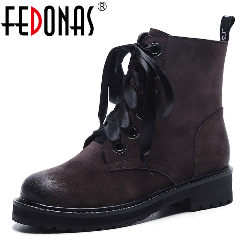 FEDONAS Brand Ankle Boots Genuine Leather Autumn Winter Short Martin Shoes Woman Thick Heels Motorcycle Boots Zipper Casual Shoe fedonas 2019 brand women buckles ankle boots thick heels autumn winter motorcycle boots platforms short martin shoes woman