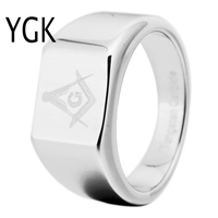 YGK Brand 12MM Width Silver Tungsten Carbide Masonic Master With Freemason Design Ring for Man and Woman's Wedding