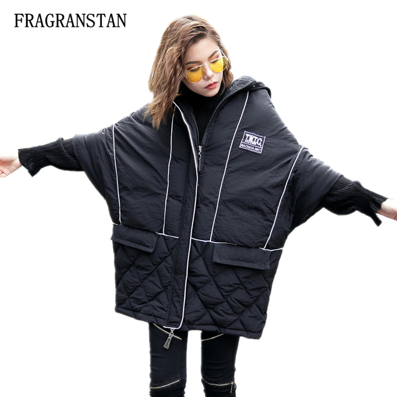 Lady Winter New Thick Keep Warm Bat Sleeved Hooded Parkas Women Fashion Letter Patch Designs Casual Plus Size Padded Jacket Q238 plus size letter print hooded sweatshirt dress