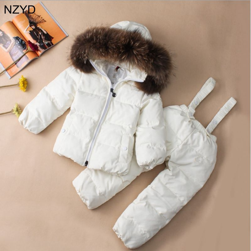 Winter Children Clothing Sets Jumpsuit Snow Jackets+bib Pant 2pcs Set Baby Boy Girls Duck Down Coats Jacket With Fur Hood DC652 2016 winter boys ski suit set children s snowsuit for baby girl snow overalls ntural fur down jackets trousers clothing sets