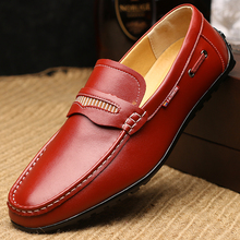 Doug Shoes Men's Casual Leather Shoes Pedal Summer Trend Of Slip-On Young British Set foot Comfortable Soft Fashion Men Shoes