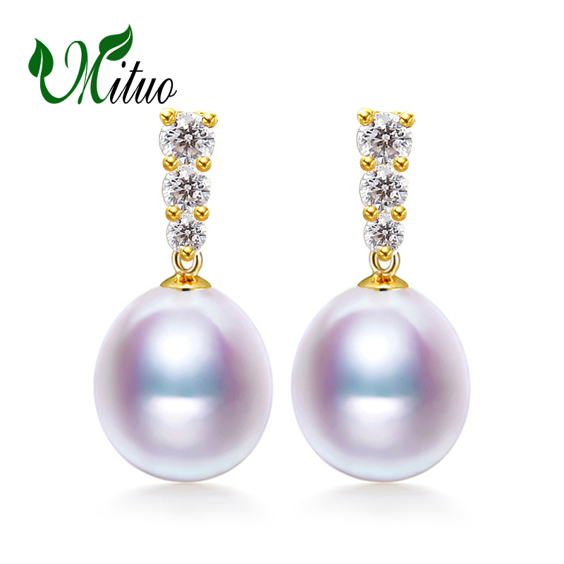 MITUO 18k gold earrings gold jewelry,Antiallergic 18K Gold For Women Fashion gold earrings for love pearl earrings Accessories браслет на ногу other 18k