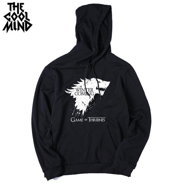 Mezcla de algodón de calidad superior del juego de tronos se acerca el invierno sudadera hoodies ocasionales con sombrero 2016 H01