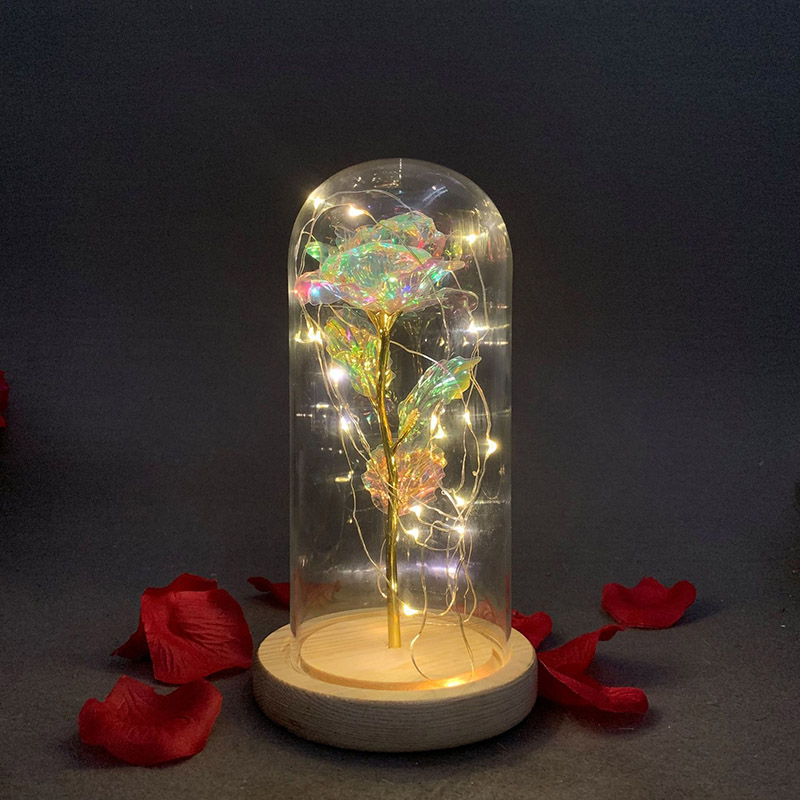 High Quality Everlasting flower Glass cover Glitter Colored gold Rose Romantic Simulation Rose Glass Cover Led Micro Landscape|Figurines & Miniatures| |  - title=
