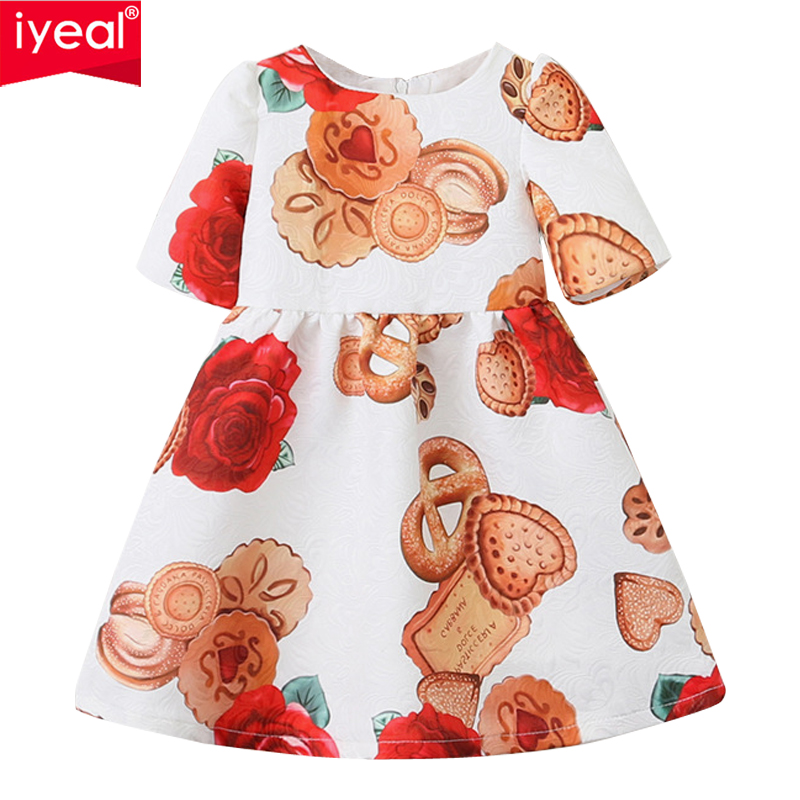 IYEAL Flower Girls Dress Baby Clothes 2018 Brand Vestidos Kids Dresses for Girls Costume Princess Children Party Wear for 2-8Y baby girls clothes of kids 2016 children brand dress for clothes girls flower red palace style princess children s dresses dress
