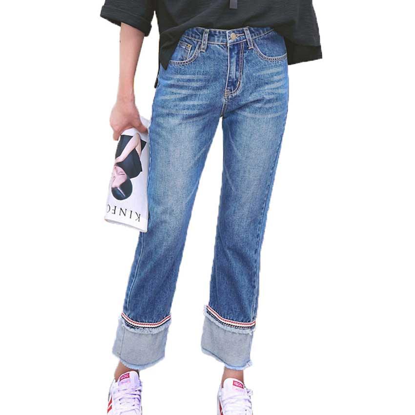 Women's Casual Boyfriend Jeans Roll Cuff High Rise Loose Straight Wide Leg Denim Long Trousers 2017 Autumn women jeans autumn new fashion high waisted boyfriend street style roll up bottom casual denim long pants sp2096