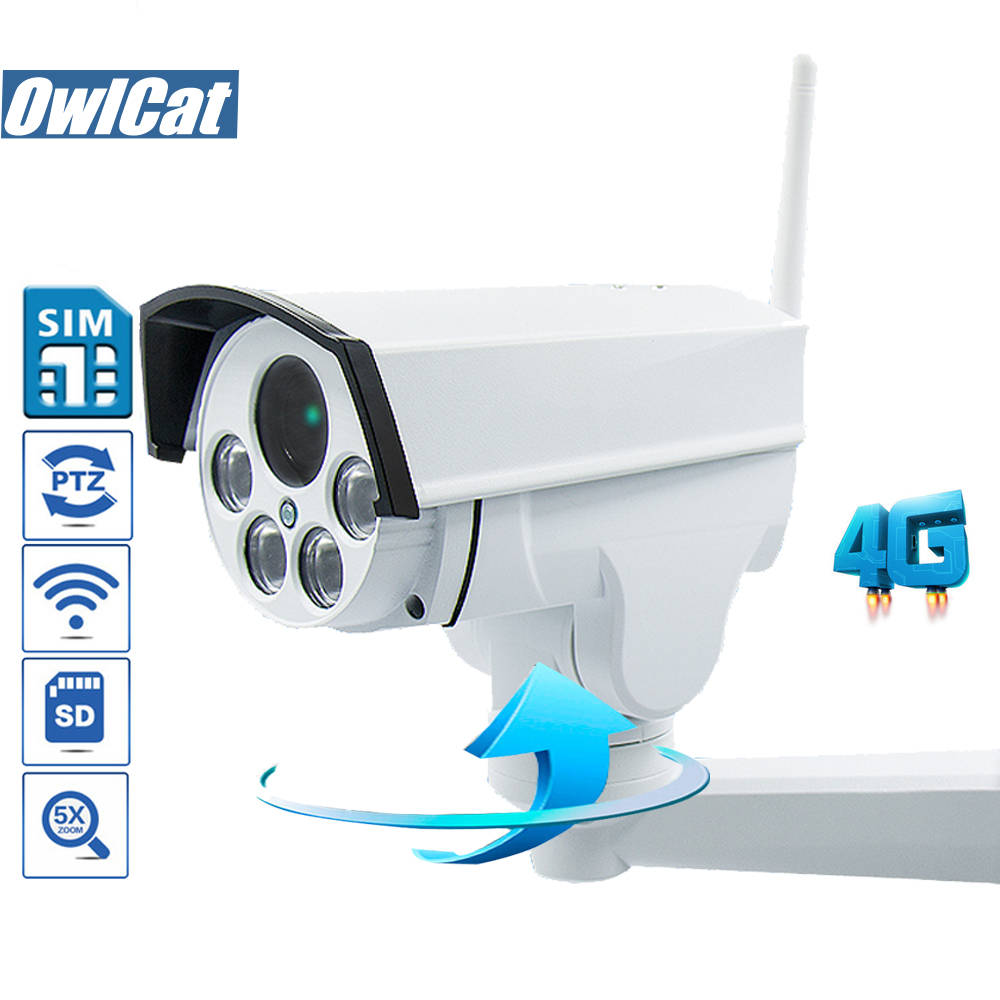 OwlCat SONY323 Outdoor PTZ Bullet 1080P 960P WIFI IP Camera Wireless 3G 4G SIM Card 5X Auto Zoom Focus AP Motion Built Audio Mic free 32gb sd card ptz cam 1080p 960p 3g 4g sim card camera wifi outdoor hd bullet camera wireless 5x zoom auto focus ip camera