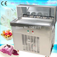 free air ship to youir home CE 50HZ 60HZ Single square big Pan Ice Cream Roll Machine with 5pcs Tanks Fried Ice Cream Machine