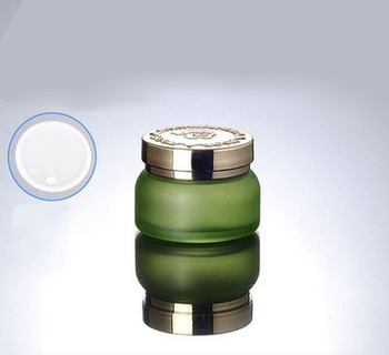 50pcs 50G green glass cream jar with gold lid ,50g green glass cosmetic container, empty 50 g Cosmetic Packaging glass bottle