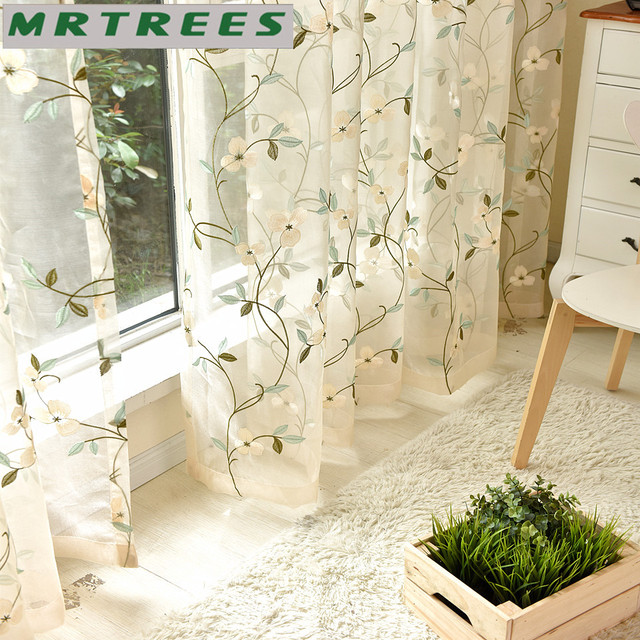 Luxury Embroidered Sheer Curtains Window Tulle For Living Room Bedroom Kitchen White Voile