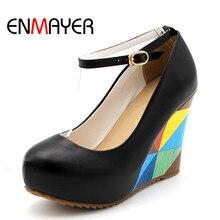 ENMAYER  new 2015 arrive fashion sexy wedges high heels women pumps PU wedding shoes woman 11cm Grid Bohemian Platform