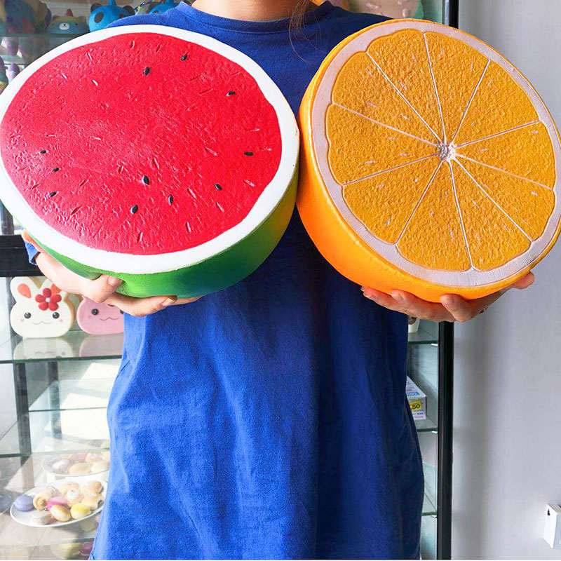 25cm <font><b>Big</b></font> size <font><b>Squishy</b></font> watermelon orange Toys <font><b>Fruit</b></font> Slow Rising Toys Stress Relief Relax Pressure Toys Interesting Gifts image