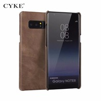 CYKE Black Brown Business Genuine Leather Case For Samsung Galaxy Note8 Cowhide Back Cover High Quality