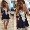 Novo 2016 Vestido de Verão de Alta Qualidade Patchwork As Mulheres Se Vestem Sexy Vestido de Renda ocasional Vestido Palácio Para Ropa mujer Vestidos de festa