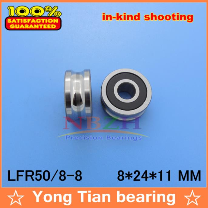 8MM track LFR50/8-8 NPP LFR50/8 KDD Groove Track Roller Bearings 8*24*11 mm (Precision double row balls) ABEC-5 50mm bearings nn3010k p5 3182110 50mmx80mmx23mm abec 5 double row cylindrical roller bearings high precision