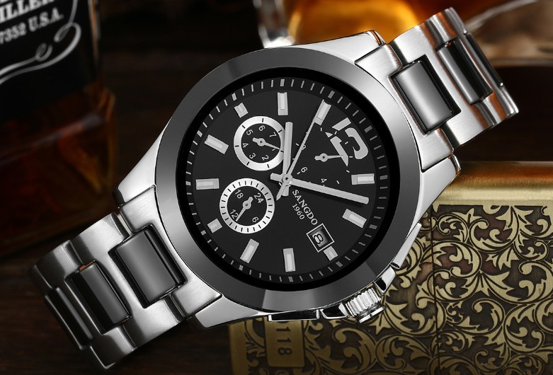 40mm Sangdo Business watch Automatic Self-Wind movement High quality Mechanical watches Auto Date Men's watch 052A original binger mans automatic mechanical wrist watch date display watch self wind steel with gold wheel watches new luxury