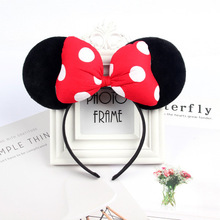 Mickey Mouse Headband Pink Ear Headband Bow Hair Accessories for Birth