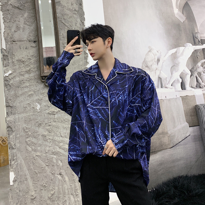 New Spring Garment 2019 Personality Edge Design Men's Loose Printed Long Sleeve Shirt Hairstylist Youth Shirt