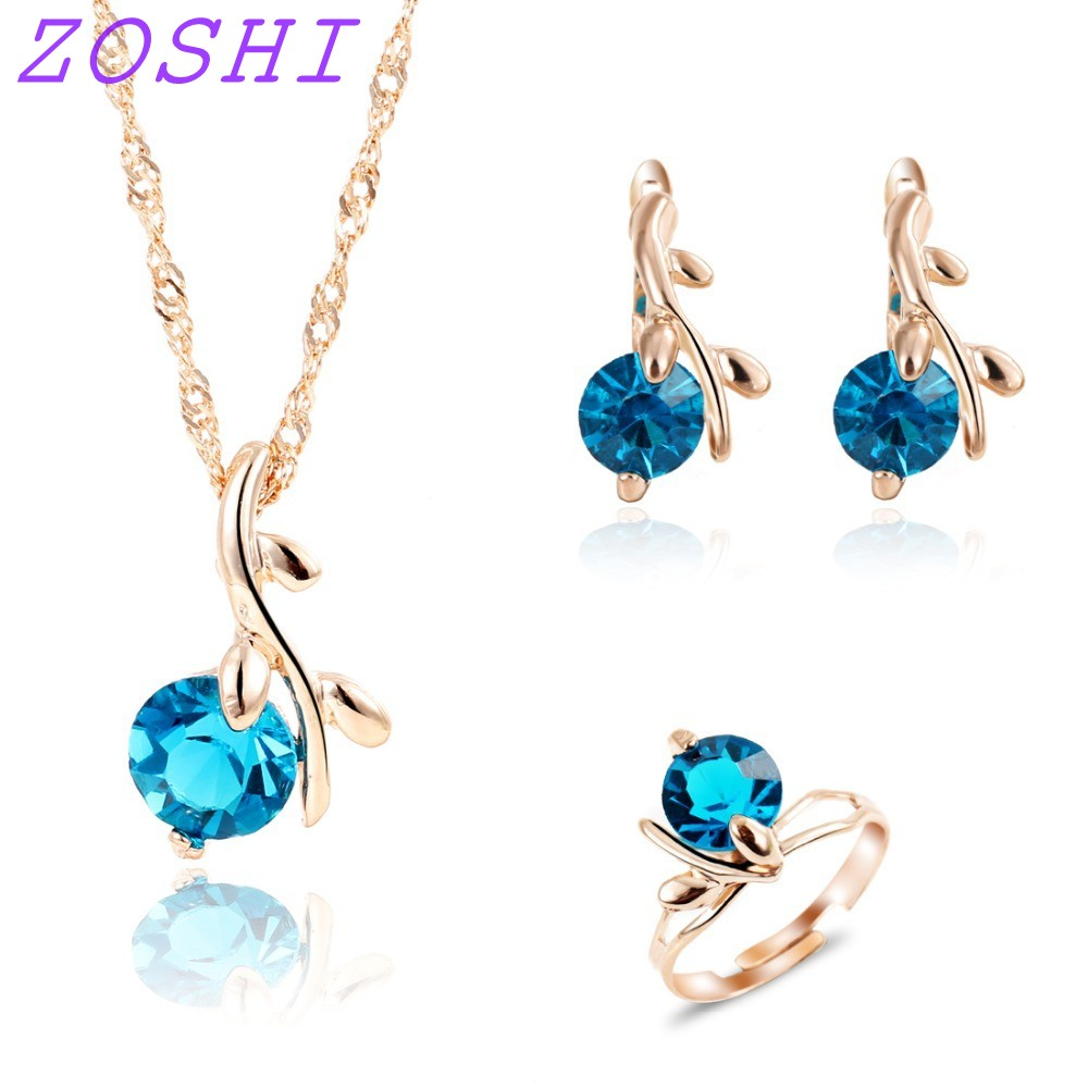 ZOSHI Ring Jewelry-Sets Crystal Wedding-Bridal Beads Fashion African Women for Blue