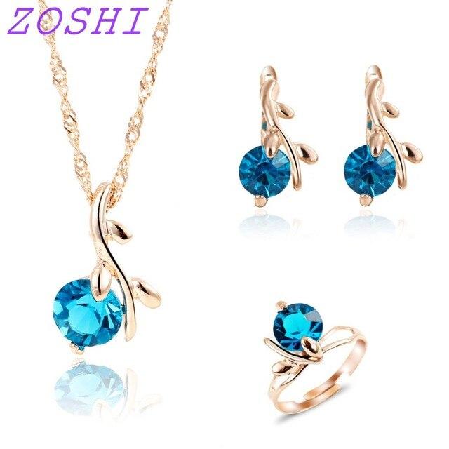 ZOSHI אופנה שרשרת עגילי טבעת חתונה כלה תכשיטי סטים לנשים כחול אפריקאי קריסטל חרוזים כלה תכשיטי סט