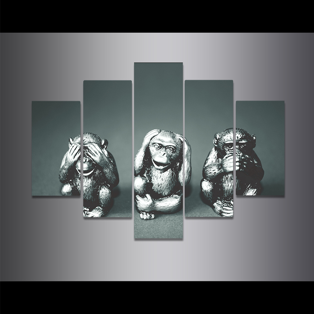 Unframed Canvas Painting Lovely Sculpture Monkey Black And White Picture Prints Wall Picture For Living Room Wall Art Decoration