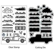 AZSG Rural Garden Stuff Truck Cutting Dies Clear Stamps For DIY Scrapbooking/Card Making/Album Decorative Silicone Stamp Craft