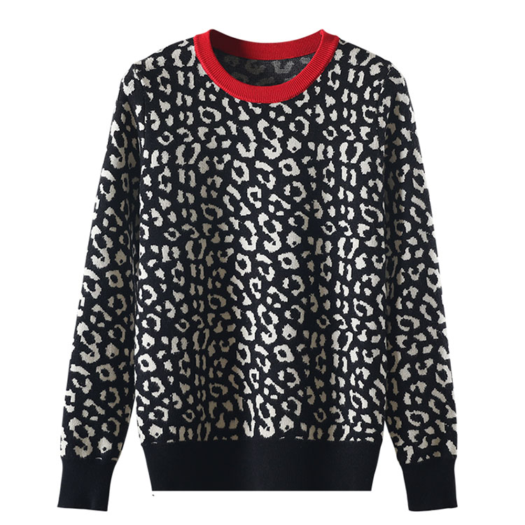 Autumn winter women sweaters leopard knitted pullovers long sleeve Contrast Color crewneck jumpers sweter mujer C-429 8