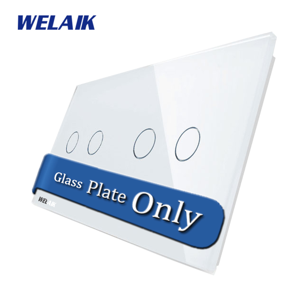 WELAIK Touch Switch DIY Parts Glass Panel Only of Wall Light Switch Black White Crystal Glass Panel 2Gang+2Gang A2922W/B1 2gang 2way white crystal toughened glass panel touch switch sensor light switch