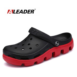 ALEADER Comfortable Big Size Mens Beach Sandals Memory Foam Soft Clogs Casual Garden Shoes For Men Slip On Hospital Work Shoes