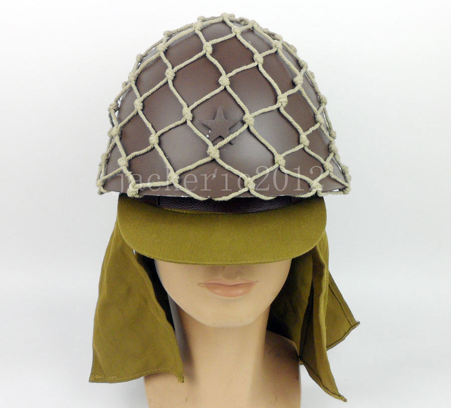 WWII WW2 JAPANESE ARMY HELMET WITH HELMET COVER CAMOUFLAGE NET CAP HAT SET
