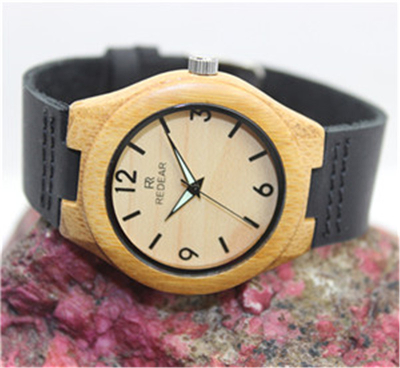 2016 HOT Bamboo Wooden Fashion Casual Lovers Women Man Wristwatch Leather strap Analog Quartz Watch Masculino